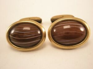 -Beautiful Striped Red Agate 1/40 10K RGP Gold Plate Vintage HICKOK Cuff Links