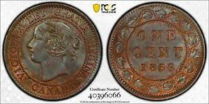Canada, 1859 N9 Victoria Cent. PCGS MS 62. 9,579,000 Mintage.