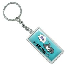 Is It Cat Naptime Yet? Dreaming Rectangle Chrome Plated Metal Keychain Key Chain