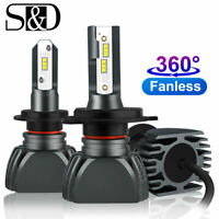 Mini CSP Y19 LED Headlight Kit Hi/Low Beam Bulbs 12000LM 50W FANLESS 6000K 4300K