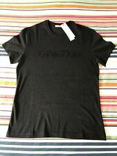 Calvin Klein Jeans Grey SS Crew Neck Embossed T-Shirt   Size Mens Large