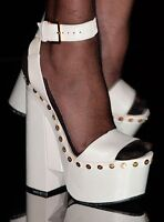 Tom Ford Runway Chalk White Clogs Platforms Sandals Shoes TF Logo $1590 39.5 9.5