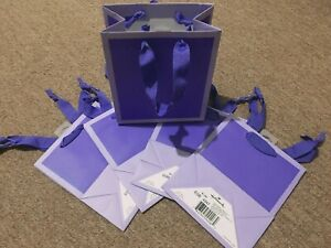 5 Packs Hallmark Gift Paper Bags All Occasion Purple Ribbons 6.5 x 5.5 x 3 *New