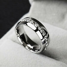 Sz7-11 Unisex CZ Stainless Steel Ring Men/Women's Wedding Band Silver Crystal