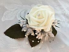 Wedding buttonholes flowers corsage double single red white ivory pink pearl