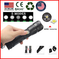 500000 Lumens Zoomable XHP50 LED USB Rechargeable Flashlight Torch Super Bright