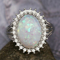 Gorgeous Wedding Rings for Women 925 Silver Oval Cut White Opal Ring Size 6-10