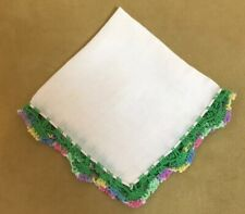 Vintage Ladies Hanky, Handkerchief, Pale Pink, Cotton, Multi Crocheted Edges