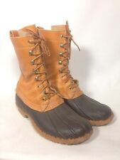 VTG LL Bean Classic Duck Boots Men's 8 M Barn Brown Leather Hunting Made In USA!