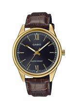 Casio MTP-V005GL-1B2 Men's Standard Gold Tone Black Dial Leather Dress Watch