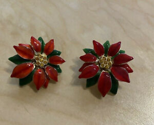 Sarah Coventry Holiday Poinsettia Red Green Enamel, Post Earrings, NEW