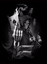 "5.75"" Game over reaper skull vinyl sticker decal motorcycle guitar helmet sample"