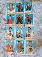1970-71 OPC HOCKEY lot of 12 Chicago Black Hawks