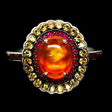 NATURAL ORANGE FIRE OPAL, RUBY & SAPPHIRE RING 925 STERLING SILVER SIZE7.75