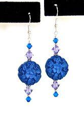 """""""IAJ"""" STERLING SILVER Earrings w/GARDEN BLUE CINNABAR FLOWERS SWAROVSKI CRYSTALS"""