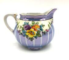 Vintage Lusterware Hand Painted Porcelain Creamer Made in Japan Blue Floral