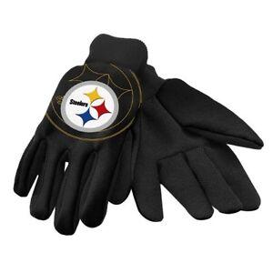 Pittsburg Steelers Black with Raised Team Logo Licensed NFL Sport Utility Gloves