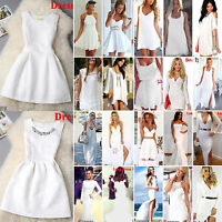 White Dresses Womens Celeb Sexy Party Evening Summer Beach Sleeveless Maxi Skirt
