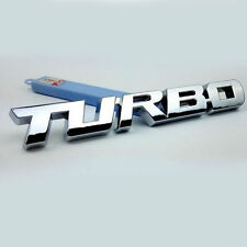 Silver 3D TURBO Words Sports Car Sticker Metal Chrome Emblem Rear Trunk Badge