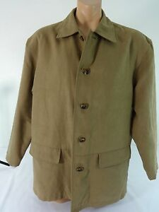 ROUNDTREE & YORKE MENS KHAKI SUEDED POLYESTER JACKET SIZE L REALLY NICE