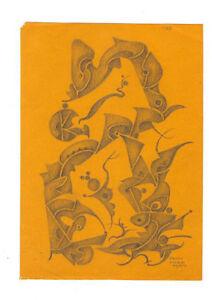 50er Jahre Zeichnung Fritz Klee Original von 1954 22cm 16cm  Mid Century Modern