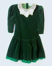 Little Girls Victorian Christmas Dress 10 Green Velvet with White Lace Collar