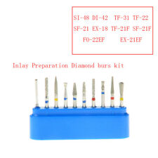 10Pc AZDENT Dental Inlay Preparation Diamond Bur Kit FG-104 High Speed Handpiece