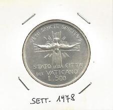 VATICANO - 500 Lire Argento Sede Vacante Settembre 1978