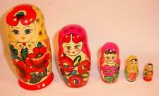 Set Of 5 Hand Painted Russian Nesting Dolls