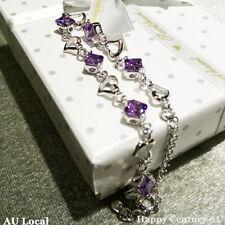 Violet Silver Plated Heart Lady Amethyst Bracelet Heart With Gift Box JBRAC1001