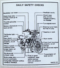 "KAWASAKI KH250 KH400 ""DAILY SAFETY CHECKS"" CAUTION WARNING DECAL"
