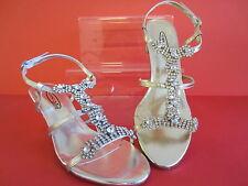 """Spot On Damen 3"""" Absatz Abend Schuhe F1925 Gold oder Silber UK 3 X 7 (R9A)"""