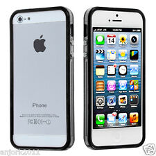 Apple iPhone 5 TPU HYBRID BUMPER w/ METAL BUTTONS ACCESSORY CLEAR BLACK