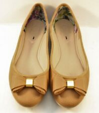 e74946c63ebdb5 Ted Baker Brown Pebbled Leather Bow Ballerinas Womens Size US 8.5M   EUR  39.5M