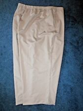 New! Blair Womans 3X Beige Performance Poly Elastic Waist Capris Crop Pants