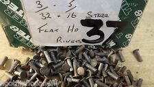 "PACK OF 50  3/32"" x 5/16"" FLAT TINMAN HEAD STEEL IRON RIVETS  NOS STEAM  BOX 37"