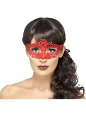 Embroidered Lace Filigree Red Eyemask Masquerade Ball Fancy Dress