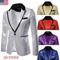 Luxury Men Sequin Fit Suit Coat Casual Slim Formal One Button Blazer Jacket Tops