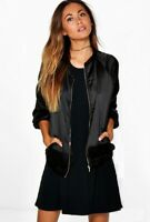 H&M LADIES BLACK SATIN JACKET COAT ZIP UP NEW