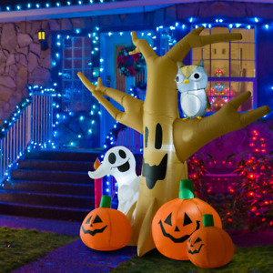 Spooky Halloween Inflatable Tree With Owl Ghost and Pumpkins Haunted House Decor
