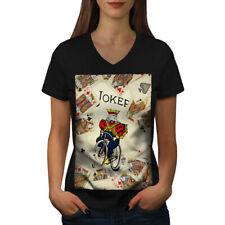Wellcoda Card Shuffle Game Womens V-Neck T-shirt, Bicycle Graphic Design Tee