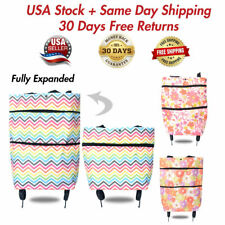 Folding Shopping Cart Bag With Wheels Trolley Portable Grocery Laundry Travel