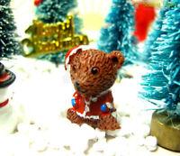 Dollhouse Miniature Christmas Bear Mini Figure Doll Fairy Garden Ornament Decor