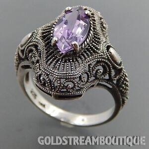 Amethyst 925 Silver Wedding Bridal Ring Antique Turkish Handmade Jewelry Sz 8