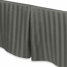 Damask Stripe 500-Thread Count 15-Inch Drop Twin Bedskirt in Grey