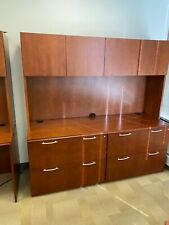 6'W- 4Dr Lateral Credenza w/Hutch byPaoli Office Furniture in Cherry finish wood