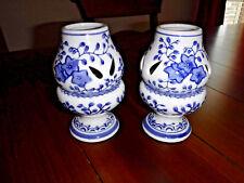 Candle Holder Blue & White Floral Pair Tealight/ Votive Bombay Co.Mint