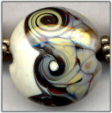 Gray Woodland Swirls Lentils Lampwork Beads Glass Bead Set With Spacers SRA