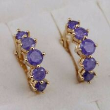 Hot Classy Nice Purple CZ Gems Jewelry Yellow Gold Filled Huggie Earrings H2938