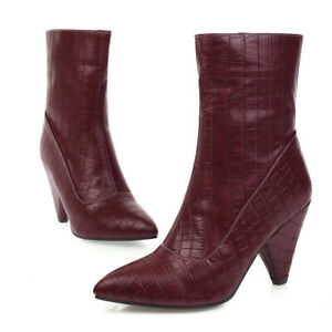 Winter Women's Ankle Boots Pointed Toe Side Zipper Thick High-Heeled Ankle Boots